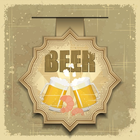 Vintage postcard, cover menu - Beer, beer snack - Retro style  - vector illustration Vector
