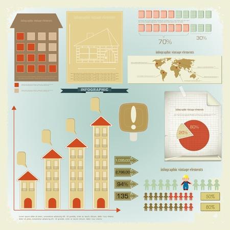 par: Vintage infographics set - House Construction and elements for presentation and Graph - vector illustration Ilustração