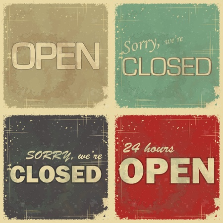 welcome business: Set of signs: Open - closed - 24 hours, Retro style vector illustration