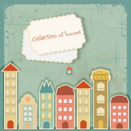 Collection of houses on vintage background - Retro card - vector illustration Stock Vector - 12931947