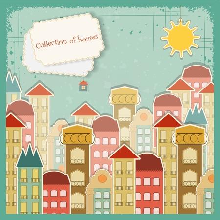 Collection de maisons sur fond vintage - Rétro carte - illustration vectorielle Vecteurs