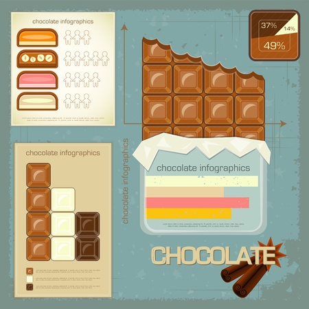 Vintage infographics set - chocolate icons and elements for presentation and graph - vector illustration Vector