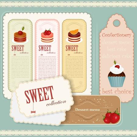 menu de postres: Carta de postres Vintage - conjunto de etiquetas - ilustración vectorial Vectores