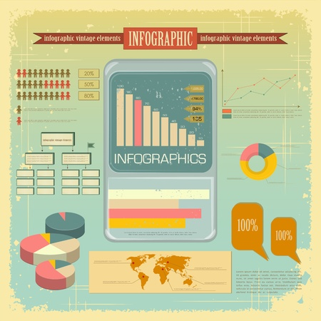 Vintage infographics set - mobile phone icons and elements for presentation and graph - vector illustration Stock Vector - 12991633