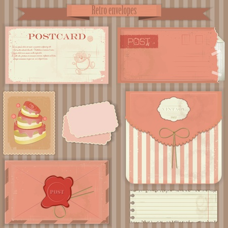 Vintage post set - Retro envelopes and postcards - vector illustration Stock Vector - 12991638