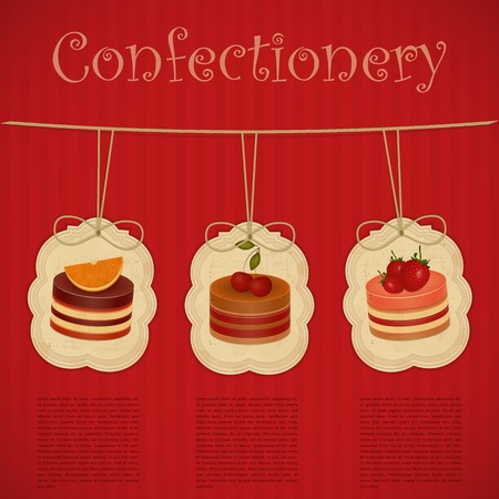 vintage postcard, cover menu confectionery - Strawberry, chocolate and cherry Cake  - vector illustration Vector