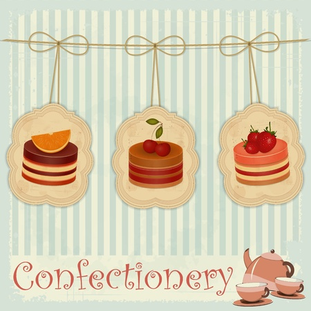 vintage postcard, cover menu confectionery - Strawberry, chocolate and cherry Cake  - vector illustration Stock Vector - 12991642