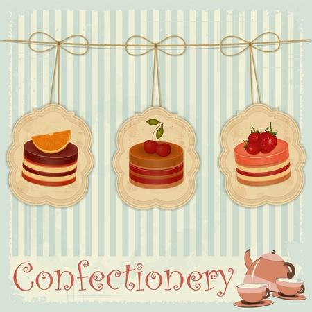 Vintage-Postkarten, Briefe Menü Süßwaren - Erdbeere, Schokolade und Kirsch-Kuchen - Vektor-Illustration