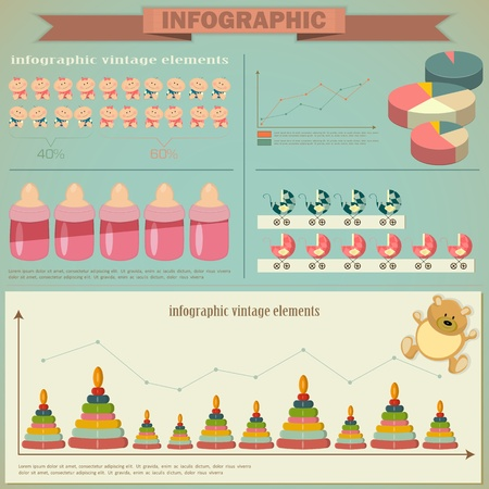 childbirth: Vintage infographics set - demography icons and elements for presentation and graph - vector illustration