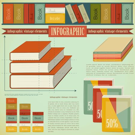 Vintage infographics set - Book icons and elements for presentation and graph Vector