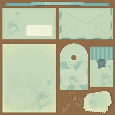 Vintage post set - Retro envelopes and postcards Stock Vector - 13082101