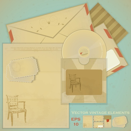 Vintage post set - Retro envelopes and postcards Vector