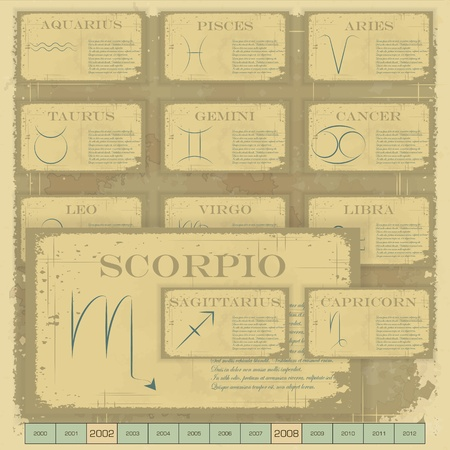 Vintage zodiac horoscope with zodiac sign - vector illustration