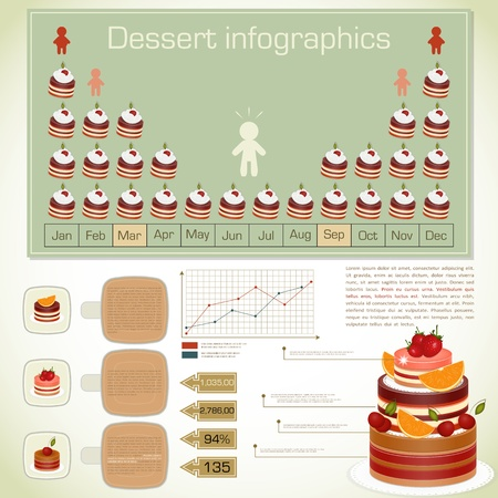 Vintage infographics set - dessert icons and elements for presentation and graph - vector illustration Vector
