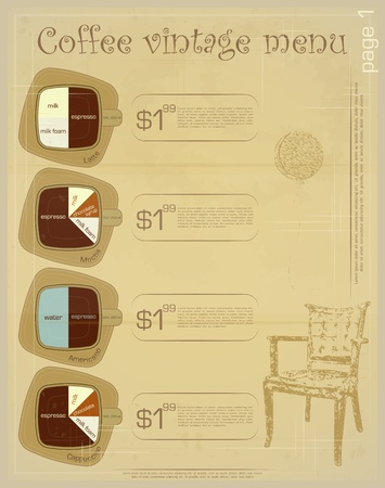 Template of menu for coffee drinks - latte, mocha, americano, cappuccino  Stock Vector - 13126572