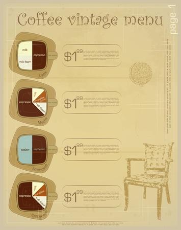 Template of menu for coffee drinks - latte, mocha, americano, cappuccino  Vector