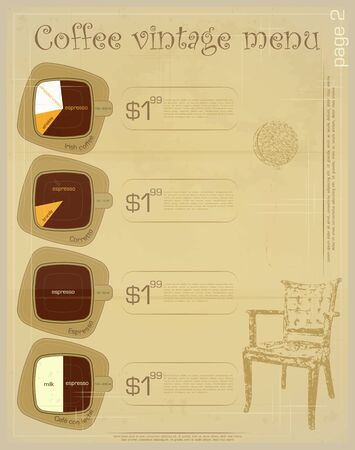 Template of menu for coffee drinks - irish, corretto, espresso, cafe con leche Vector