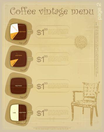 Template of menu for coffee drinks - irish, corretto, espresso, cafe con leche Stock Vector - 13126571