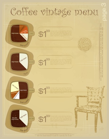 Template of menu for coffee drinks - marochino, toro, iced coffee, flat white Vector