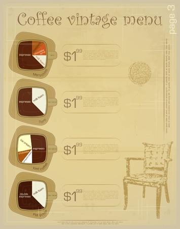 Template of menu for coffee drinks - marochino, toro, iced coffee, flat white Vector