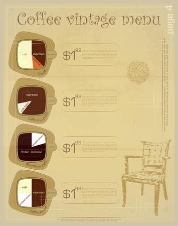 dessert menu: Template of menu for coffee drinks - freddo, macchiato, granita de cafe, breve - vintage vector illustration