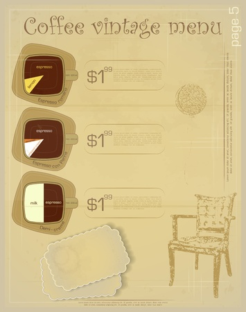 Template of menu for coffee drinks - espresso romano, espresso con panna, demi creme  Vector