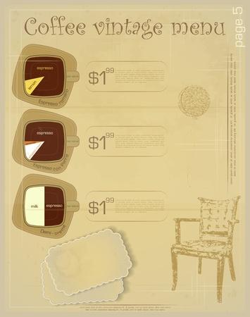 Template of menu for coffee drinks - espresso romano, espresso con panna, demi creme  Vector