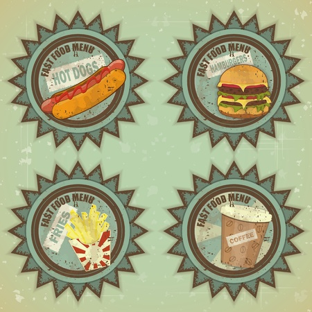 eating fast food: Vintage Fast Food Menu - Grunge Labels illustration Illustration