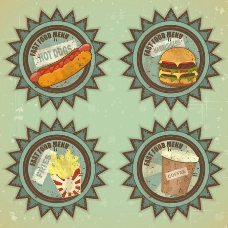 burger cartoon: Vintage Fast Food Menu - Grunge Labels illustration Illustration
