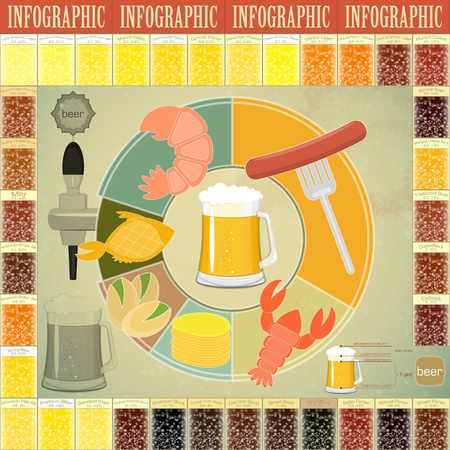 Vintage Infographics set - Beer icons, Snack and elements for presentation and Graph - vector illustration Vector