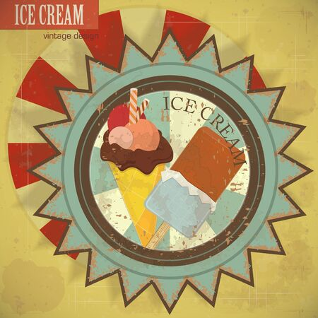 vintage card - ice cream on grunge background - vector illustration Vector
