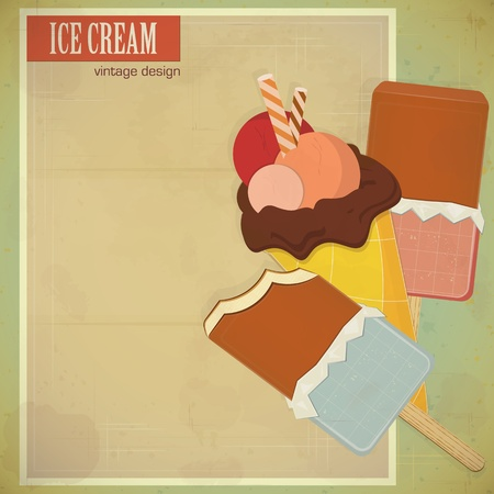 vintage card - ice cream on grunge background with place for text - vector illustration Vector