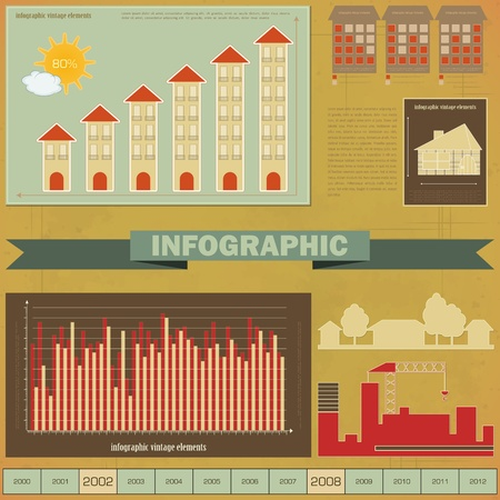 Vintage infographics set - House Construction and elements for presentation and Graph -  Vector