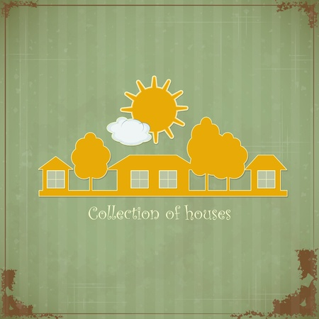 housing styles: Vintage Rural estate symbol for design on grunge background - Illustration