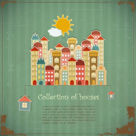 vintage backgrounds: Collection of houses on vintage background - Retro card -