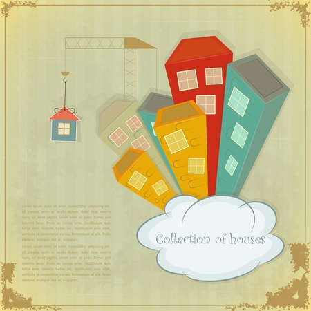 property investment: Collection of houses on vintage background - Retro card - vector illustration Illustration