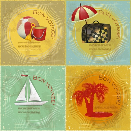 set of Vintage travel postcard - boat, beach toys, suitcase, palm on grunge background Vector