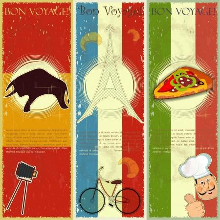 set van Vintage reizen postkaart - Frans, Italiaans en Spaans thema - grunge stijl card - vector illustratie Vector Illustratie
