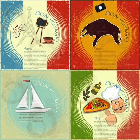 spanish bull: set of Vintage travel postcard - French, Italian and Spanish theme  - grunge style card - vector illustration Illustration