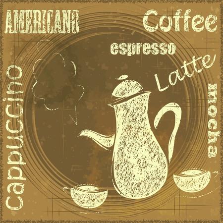 cartoon menu: Vintage Stand for Coffee, cafe menu - grunge style - vector illustration Illustration