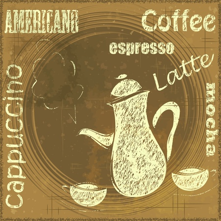 Vintage Stand for Coffee, cafe menu - grunge style - vector illustration Stock Vector - 13291974