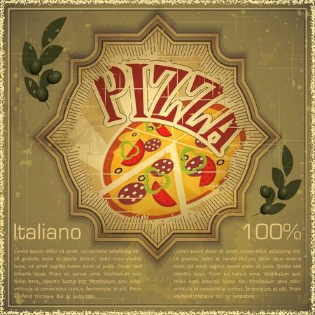 pizza: Tarjeta de Vintage - men� de la cubierta - Pizza en el fondo del grunge, estilo vintage - ilustraci�n vectorial
