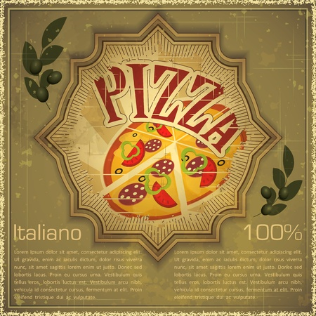 Vintage card - Cover menu - Pizza on grunge Background, Vintage style - vector illustration Vector