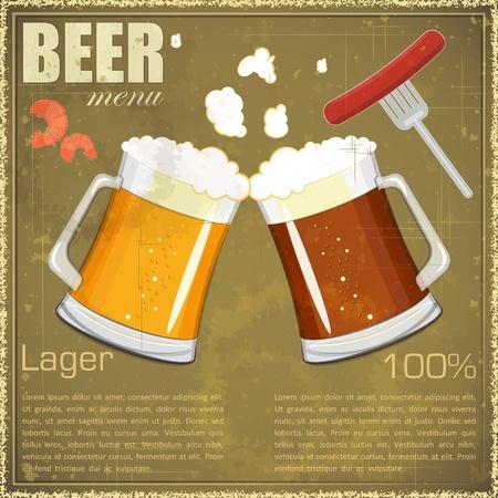 beer icons: Vintage postcard, cover menu - Beer, beer snack - Retro style   Illustration