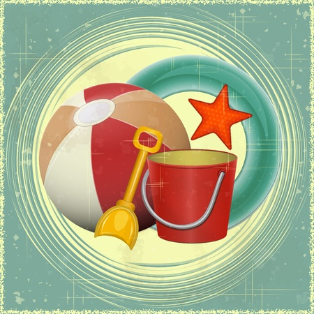 lifeline: Beach toys -  ball, shovel, bucket,  lifeline - retro postcard - vector illustration