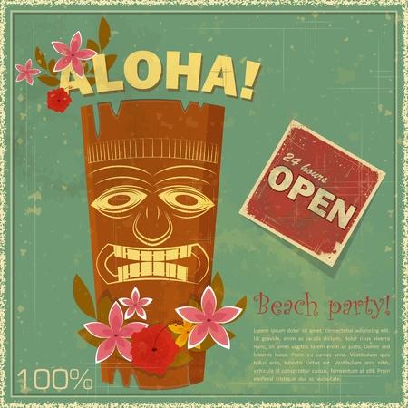 fiesta en la playa: Postales antiguas de Hawai - invitaci�n a la fiesta Beach - ilustraci�n vectorial