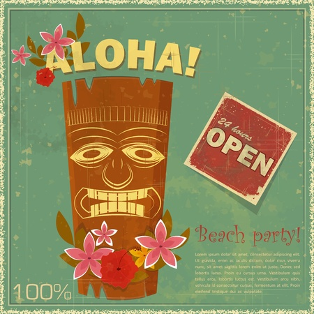 tiki party: Vintage Hawaiian postcard - invitation to Beach party - vector illustration