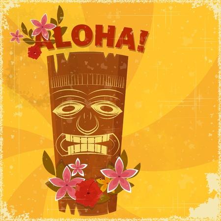 aloha: Weinlesehawaiische Postkarte - Einladung zur Beach-Party - Vektor-Illustration