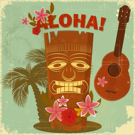 ukulele: Vintage Hawaiian postcard - invitation to Beach party  Illustration