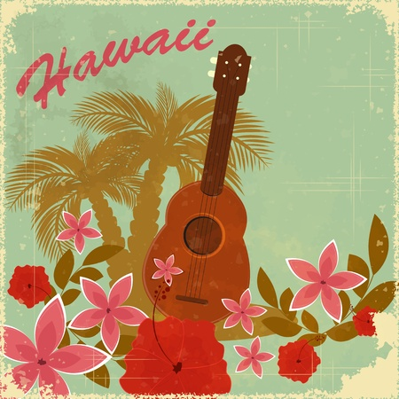 hawaiian: Vintage Hawaiian postcard - invitation to Beach party  Illustration